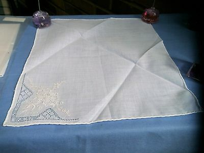Wedding Handkerchief White Cotton Lawn Embroidered With Hand Rolled Edge