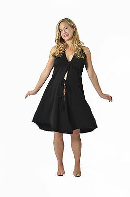 Pretty Pushers Black Solid /Delivery/Hospital/Birthing Gown Pre Pregnant 2 - 16