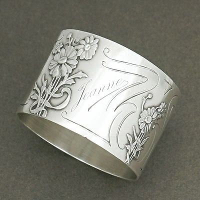 Antique French Sterling Silver Napkin Ring by Charles Murat, Raised Floral Decor