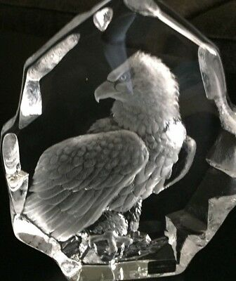 Mats Jonasson Sweden Full Lead Crystal Eagle Signed And Numbered