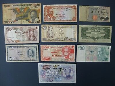 10No. WORLD BANKNOTE COLLECTION/BULK LOT~MALTA, RUSSIA, LUXEMBOURG, CYPRUS ETC