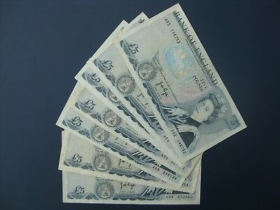 7No. 1971 PAGE A02/3/4/5/6/7/9 £5 BANKNOTE (GB/ENGLAND) COLLECTION/BULK LOT aVF