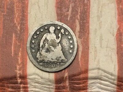 1854 5C Seated Liberty Half Dime 90% Silver Vintage US Coin #FD28