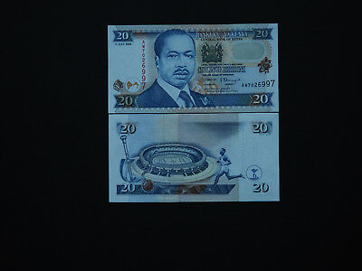 Kenya  Scarce And Superb  20 Shillings  1998   Great Notes   * Mint Unc *