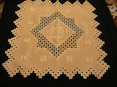 HARDANGER FINISHED  CLOTH 18-1/2 by 18 INCHES INTRCATE NEEDLE WORK DESGIN