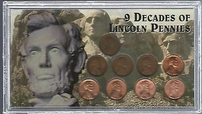 United States - 9 Decades Of Lincoln Pennies Housed In Presentation Case