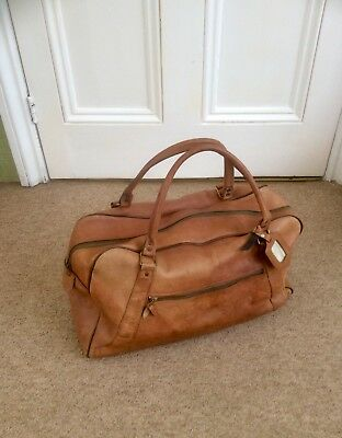 Original Vintage Real Tan Leather Holdall Bag,Duffle,Weekand Case,Display,Old