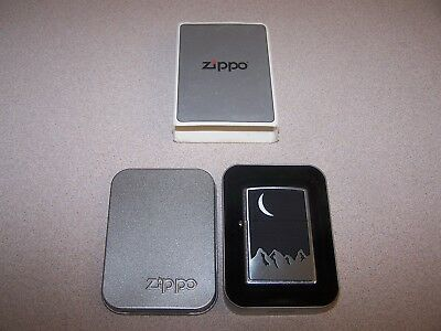 Zippo Lighter With Mountains And Crescent Moon (2000)-Never Used