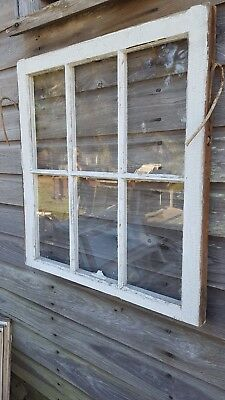 Architectural Salvage - ANTIQUE WINDOW SASH - C. 1900s - 29x28 6 PANE WAVY GLASS