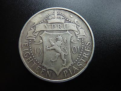 1901 Cyprus Victoria Eighteen/18 Piastres Scarce Silver Coin