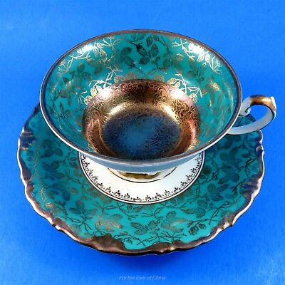 Aqua Green and Gold Center Kunst Kronach Bavaria Germany Tea Cup and Saucer Set