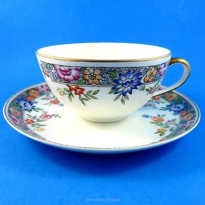 Pretty Floral Hutschenreuther Bavaria Germany Tea Cup and Saucer