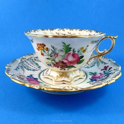 Stunning Ornate Floral Bavaria Germany Tea Cup and Saucer Set
