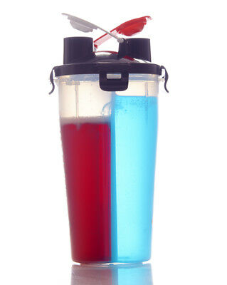 Dual Protein Shaker BPA Free Duo Suppliment Cup Fitness Double Shake Bottle
