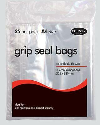 "CLEAR REUSABLE GRIP SEAL BAGS A5 (5"" x 8"") A6 (4"" x 5"") A4 (8"" x 11"")"