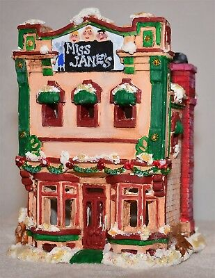 Christmas Porcelain Ceramic Miss Jane's School House 2 Story Victorian Snow