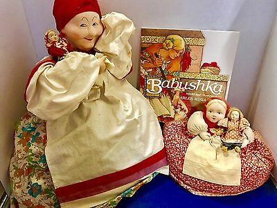 A Lot Of Vintage Russian Cloth Dolls And Storybook