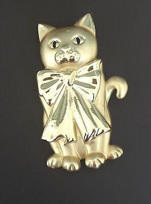 Vintage Singed AJC  Figural Matte Gold Cat  With Bow  Pin Brooch