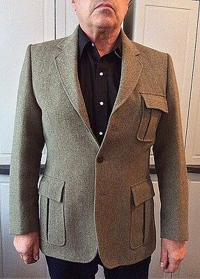 Classic English Country-Gentleman Tweed Sports Jacket - Grey-Green - (L) - VGC!