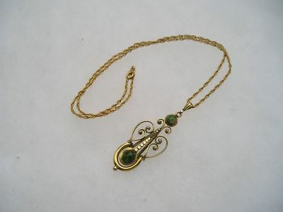 Lovely Victorian Gold Filled Green Art Glass Lavalier Pendant Necklace