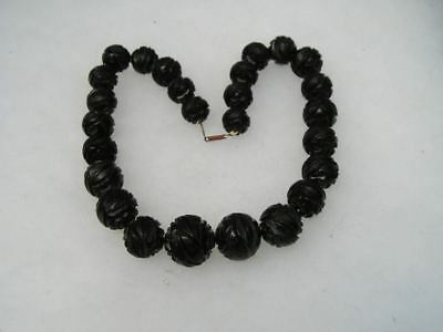 Antique Victorian Mourning Deeply Carved Whitby Jet Necklace