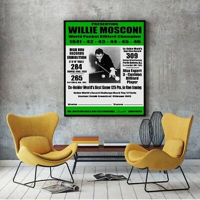 "Large Size 24""x32"" Willie Mosconi 1947 Event Poster - Pool Billiards Brunswick"