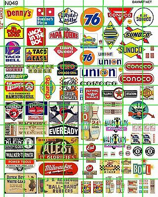 N049 Decals Modern American Fast Food Battery Bowling Gas/oil Building Ad Sign