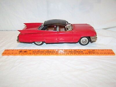 Vintage Tin Friction Red Cadillac Toy Car tin Litho Made in Japan