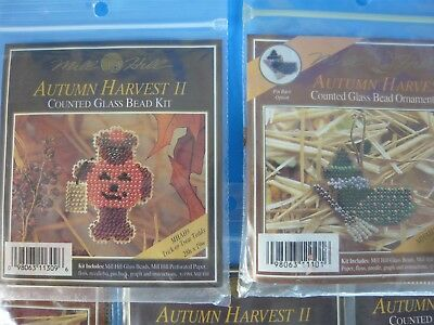 Lot of 8 Mill Hill Autumn Halloween Counted Glass Bead Ornament Kits NEW Vintage