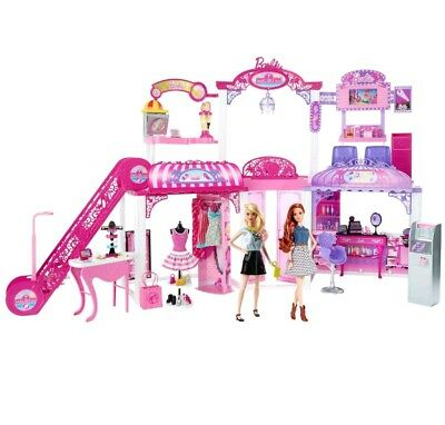 New Barbie Malibu Ave 2-Story Mall with 2 Dolls - (50+ Pieces, 2' Tall, 4' Wide)