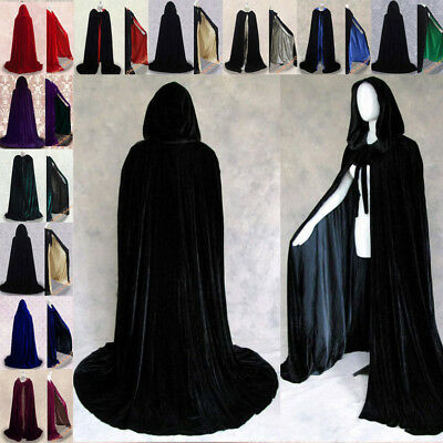Velvet Hooded Cloak Halloween Renaissance Wizard wicca robe Gothic Costume Capes