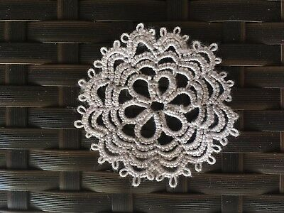 Vintage Style Hand Tatting Lace: Round Light Grey Cotton Doily