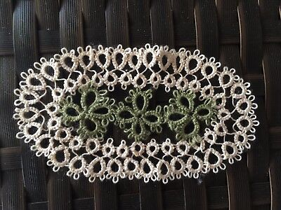 Vintage Style Hand Tatting Lace:Oval-shaped Beige Cotton Doily