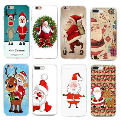 Cute Xmas Christmas Pattern Soft Silicone TPU Case Cover For iPhone Huawei P10