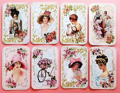 Printed Glamorous Ladies Card Toppers X 8 Vintage Antique Shabby Chic