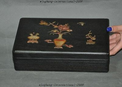 "10"" old Chinese Rosewood inlay shell carved vase Ruyi Jewelry boxes storage box"