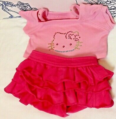 Build a Bear Hello Kitty Pink Outfit Rhinestone Sanrio Top Skirt Lot Clothes Set