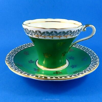 Corset Shaped Emerald with Gold Leaf Aynsley Tea Cup and Saucer Set