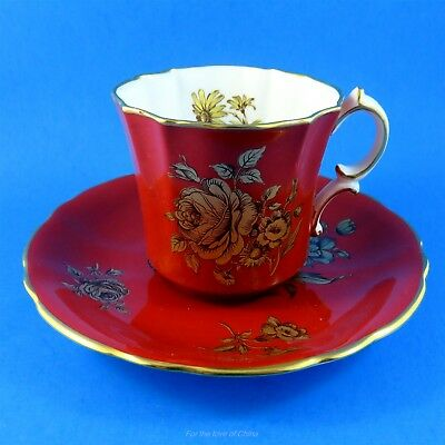 Deep Red with Gold Roses Hammersley Tea Cup and Saucer Set