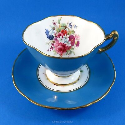 Bright Blue Border with Floral Bouquet Hammersley Tea Cup and Saucer Set
