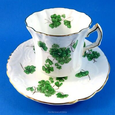 Pretty Lucky Shamrock Hammersley Tea Cup and Saucer Set