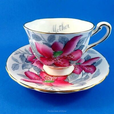 "Handpainted Pink Floral with ""Mother"" Royal Chelsea Tea Cup and Saucer Set"