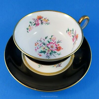 Black Border with Florals Royal Chelsea Tea Cup and Saucer Set