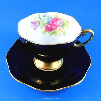 Black and Floral With Gold Pedestal Foley Tea Cup and Saucer Set
