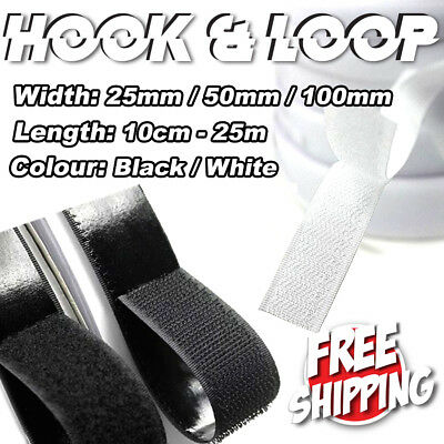 25mm 50mm 100mm Heavy Duty Adhesive Sticky Hook Loop Fastening Tape Black White