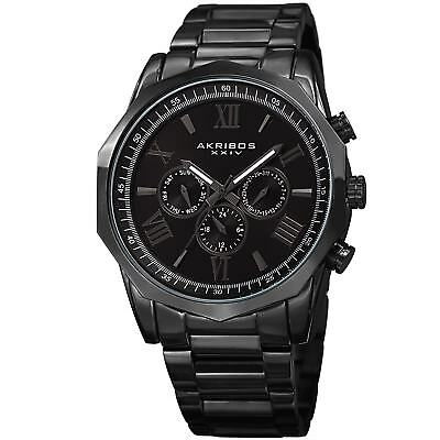 Akribos XXIV Men's Swiss Quartz Multifunction Black Stainless Steel Bracelet