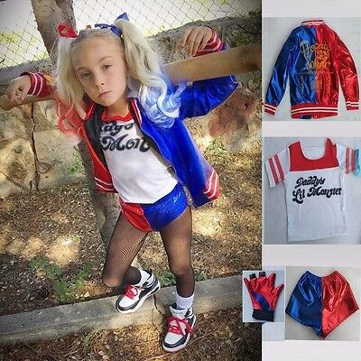 4PCS Suits Girls Kids Suicide Squad Harley Quinn Cosplay Fancy Dress Costume