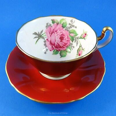 Deep Red Exterior with Pink Rose Adderley Tea Cup and Saucer Set