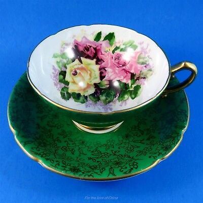 Emerald Green & Gold Colorful Rose Bouquet Stanley Tea Cup and Saucer Set