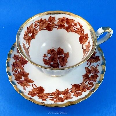Hand Decorated Brown Leaf Edge Shafford Tea Cup and Saucer Set